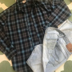 J crew  med  plaid shirt button down nice colors